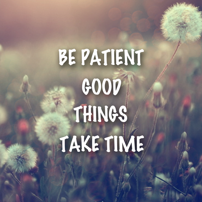 BE PATIENT GOOD THINGS TAKE TIME - WEES GEDULDIG GOEDE DINGEN KOSTEN TIJD